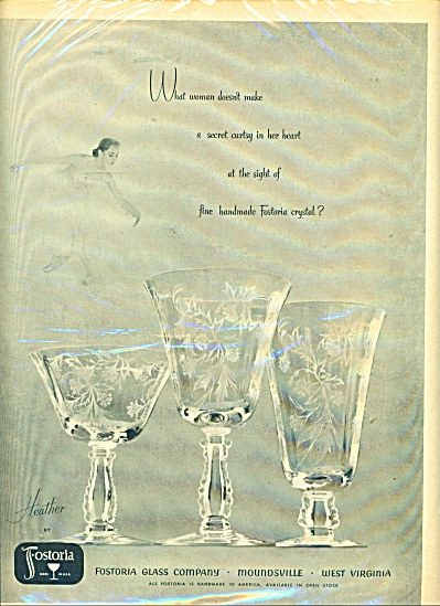 1952 Fostoria Glass AD HEATHER Goblet PATTERN (Image1)