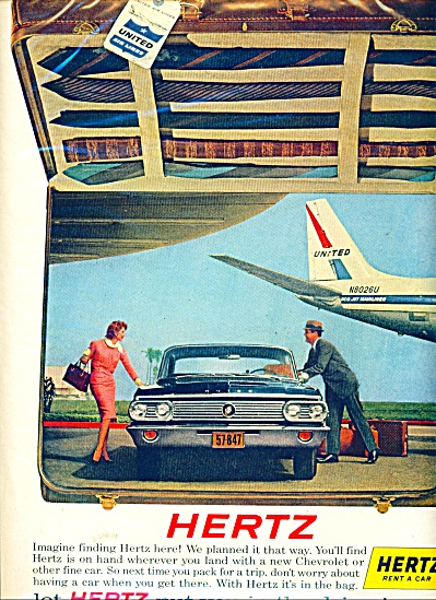 1963 Hertz rent a car AD BUICK United AIR (Image1)