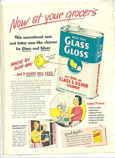 1949 Bon Ami Glass Gloss AD Vintage Art (Image1)