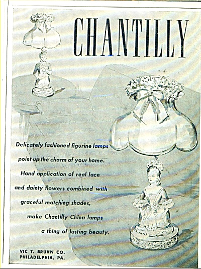 Chantilly figurine lamps ad   1948 (Image1)