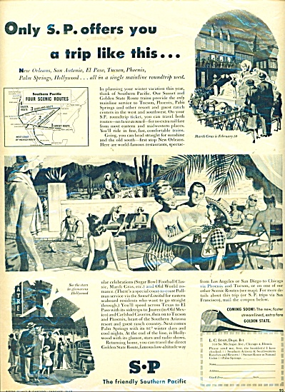 1948 Southern Pacific Railroad AD POOL ART (Image1)