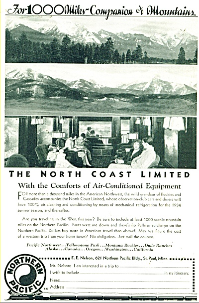 1934 Northern Pacific Railroad AD ~ Train of 1000 Miles (Image1)