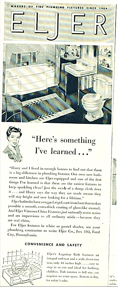 1948 ELJER PLUMBING FIXTURES AD Great Decor (Image1)