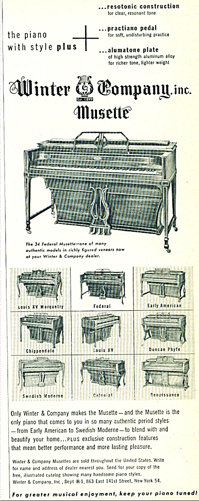Winter Company Inc. Musette  ad  1948 (Image1)