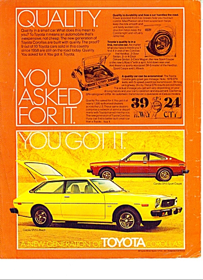 Toyota Automobile For 1976 Ad