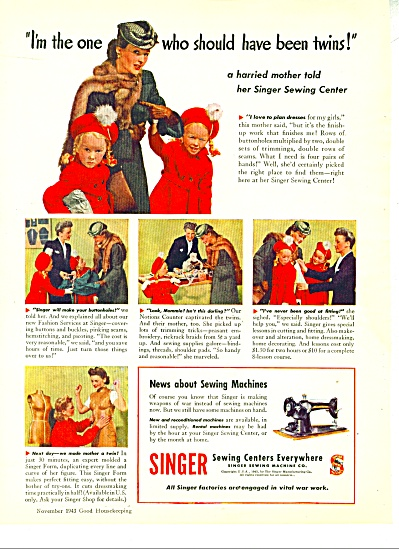 1948 Singer Sewing Ad Harried Mom Twin Girls