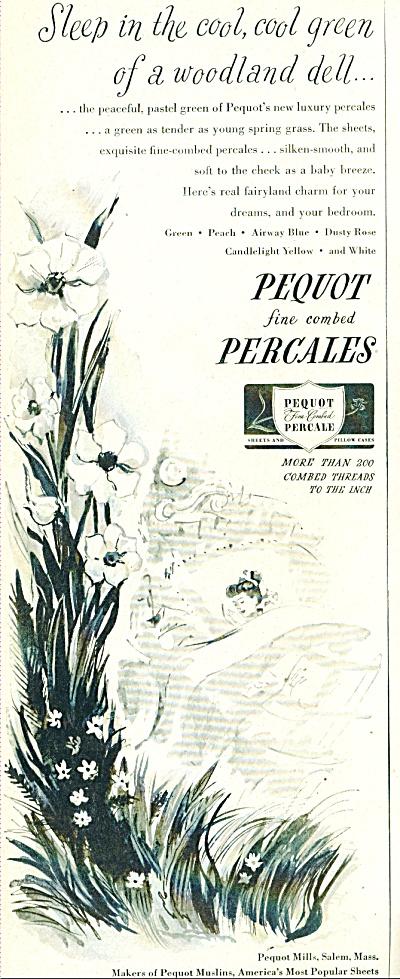 1948 Pequot Mills Linens AD Vintage Artwork (Image1)
