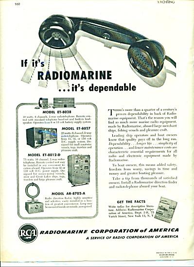1946 RCA Radiomarine AD w/ 4 Models MARINE (Image1)