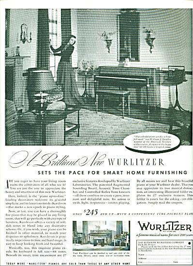 Wurlitzer musical Ad  - 1939 (Image1)