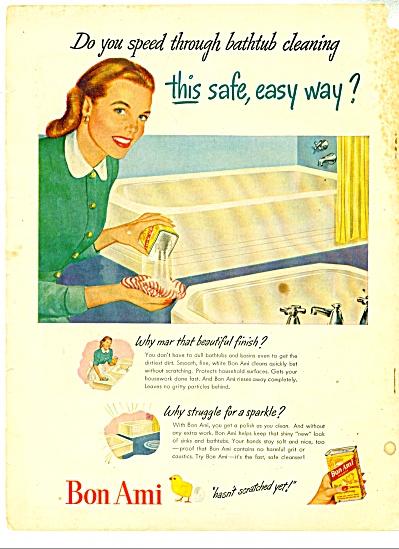 1948 Bon Ami Bathtub Cleanser AD Vintage Art (Image1)