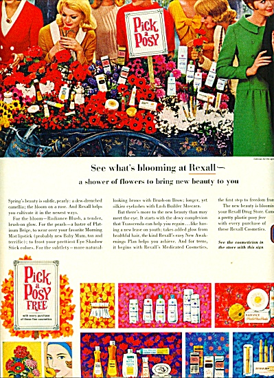 1965 Rexall DRUG Pick A POSY COLOR AD (Image1)