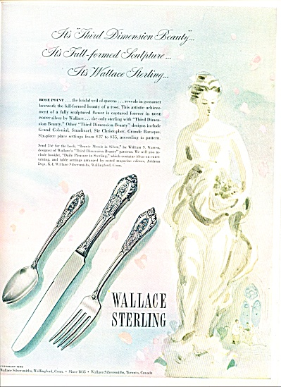 1948 Wallace Silver Rose Point Silverware Ad #2