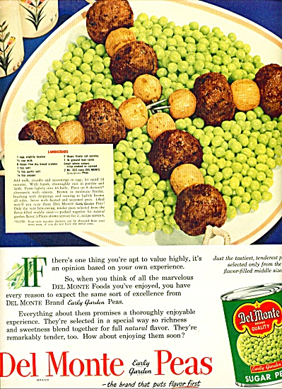 Del Monte early garden Peas ad  - 1952 (Image1)