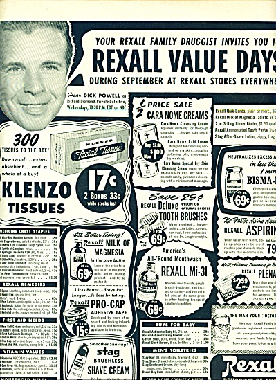 1950 REXALL DRUG STORE Druggist Products AD (Image1)