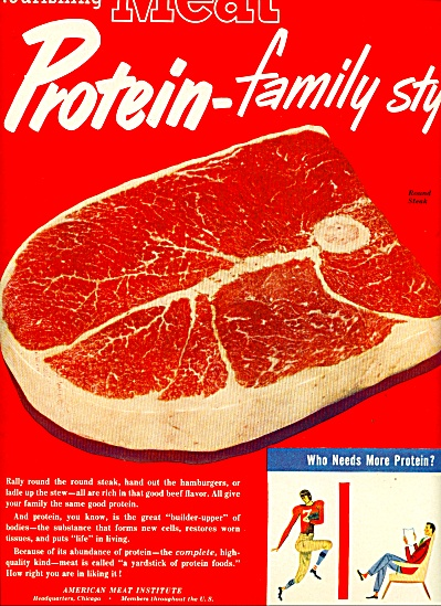Nourishing meat protein family style ad  1950 (Image1)