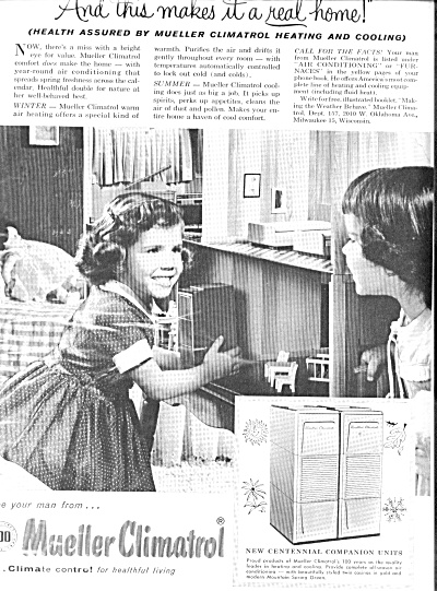 1957 Mueller Climatrol Little Girls DOLLS Dollhouse  Ad (Image1)