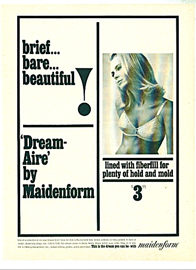 1965 MAIDENFORM BRA AD Brief BARE Beautiful (Image1)