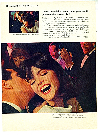 1965 CLAIROL Go LIGHTS Lipstick AD 4pg FASHION MODEL (Image1)
