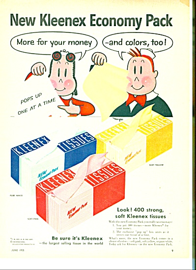Kleenex tissues ad  - 1955 LITTLE LULU Comic (Image1)