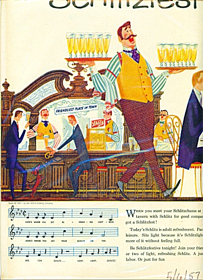 1957 SCHLITZ fest beer ad  - Joe's Place (Image1)