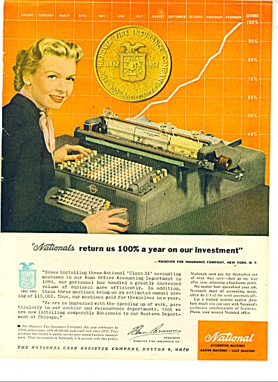 National Accounting Machines Ad - 1952