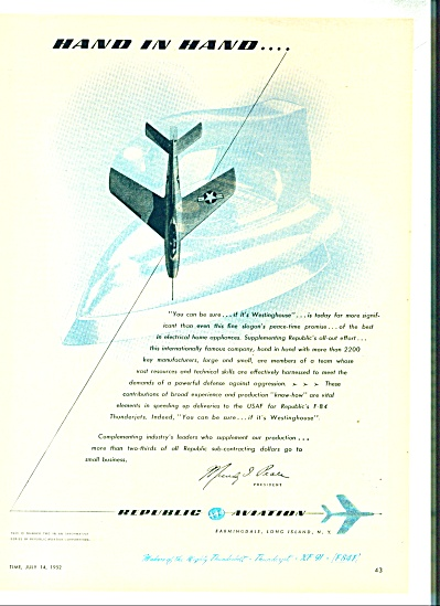 Republic Aviation Ad -1952