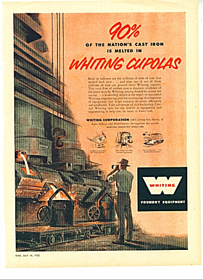Whiting foundry equipment ad   1952 (Image1)