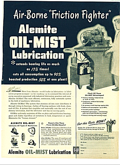 Alemite Oil Mist Lubrication Ad - 1952