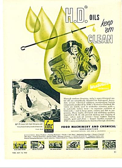 H-D oils  ad   Keep em clean -  1952 (Image1)