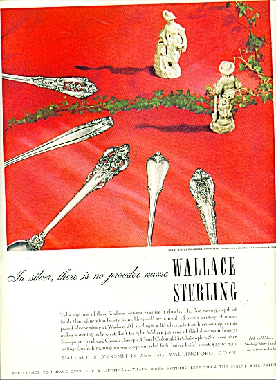 1947 Wallace Sterling Silver Ad Derby Bisque
