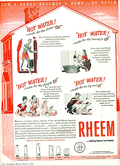 Rheem hot water tanks ad  1947 (Image1)