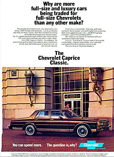 Chevrolet Caprice classic car ad   1981 (Image1)