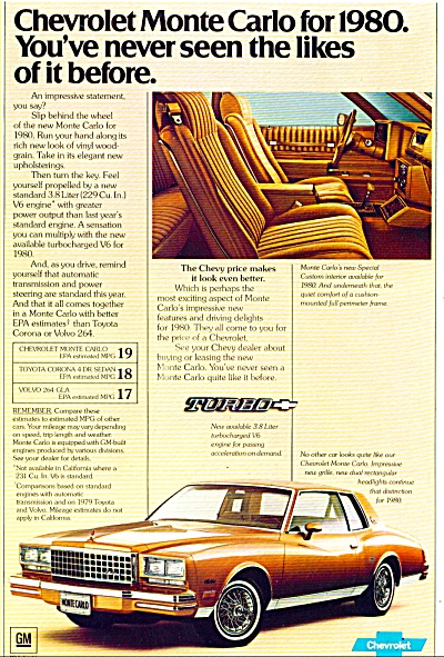 Chevrolet Monte Carlo For 1980 Ad