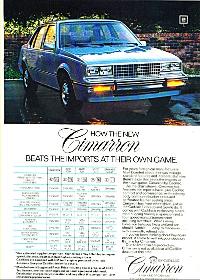 Cadillac  Cimarron ad (Image1)