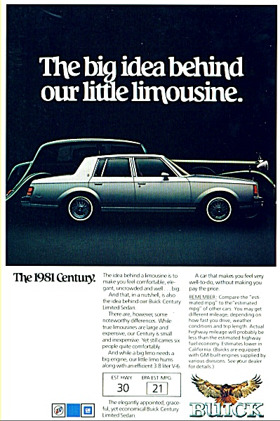 Buick Century for 1981 ad (Image1)