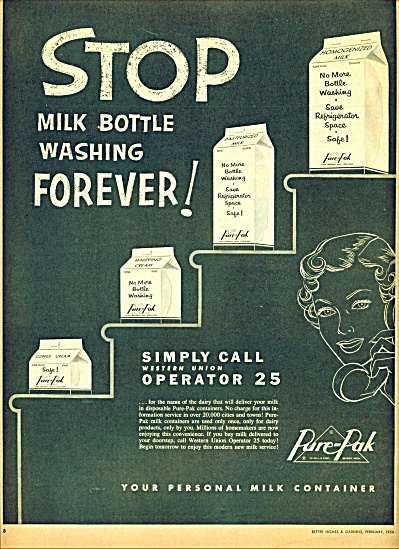 Pure Pak milk containers ad    1954 (Image1)