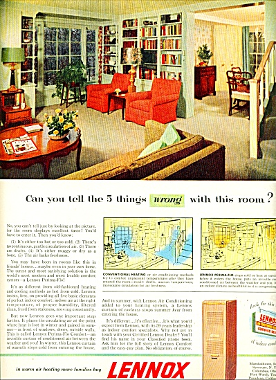 Lennox Air Conditioning And Heating Ad - 1954