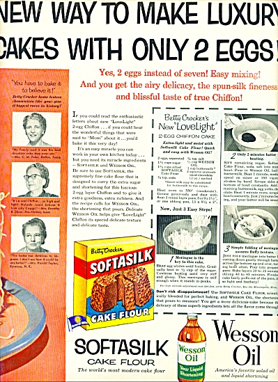 Softasilk Cake Flour And Wesson Oil Ad 1954