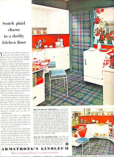 1954 Armstrong Linoleum VINTAGE KITCHEN AD De (Image1)