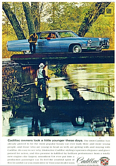 1968 Cadillac CAR Promo  AD MAN FISHING (Image1)