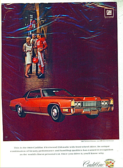 1969 Cadillac RED Fleetwood Eldorado CAR AD (Image1)