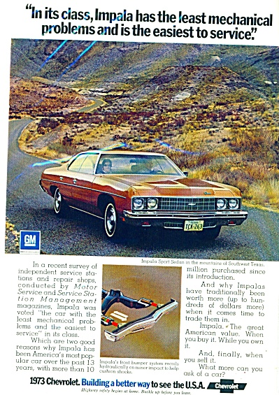 Chevrolet Impala automobile ad   1973 (Image1)