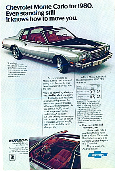 Chevrolet Monte Carlo For 1980 Ad Car