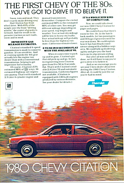 1980 Chevy Citation Ad 1979
