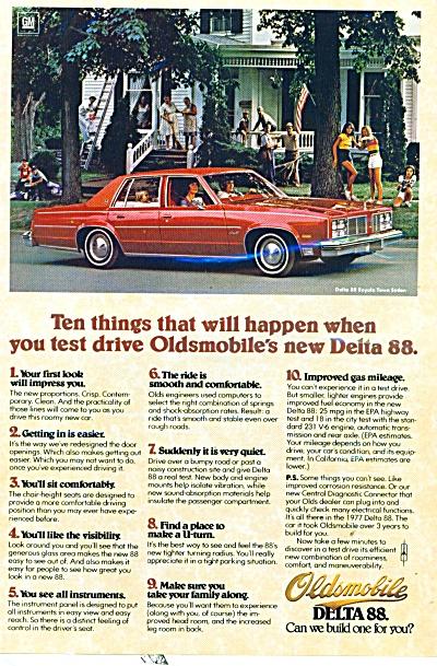 Oldsmobile Delta 88 ad -   1977 (Image1)