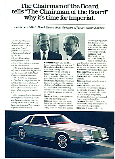 Chrysler Imperial - Iacocca & Sinatra - ad (Image1)