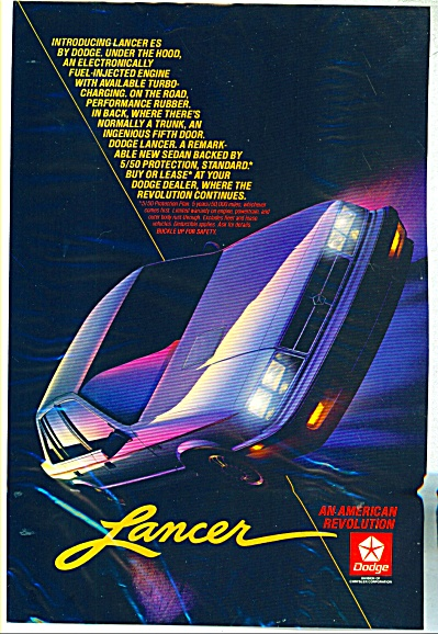 Dodge Lancer automobile ad  1985 (Image1)