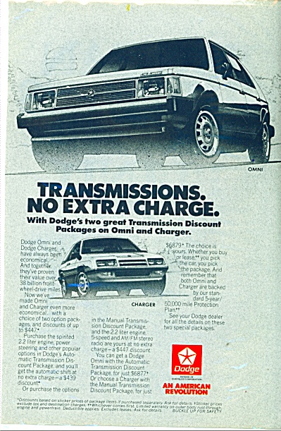 Dodge Omni and Dodge Charger ad - 1985 (Image1)