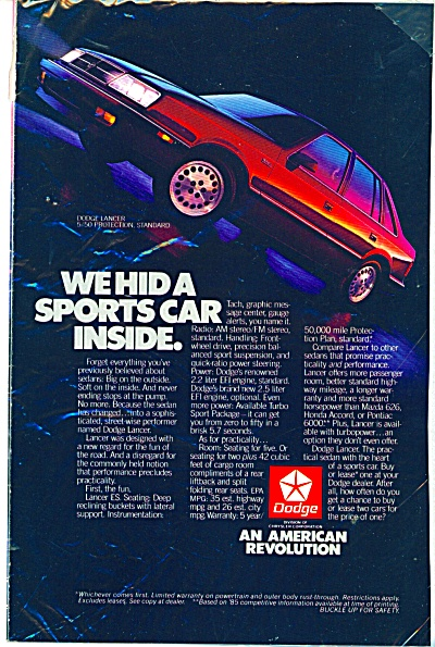 Dodge Lancer automobile ad (Image1)