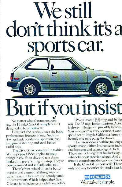 Honda Civic GL automobile ad (Image1)